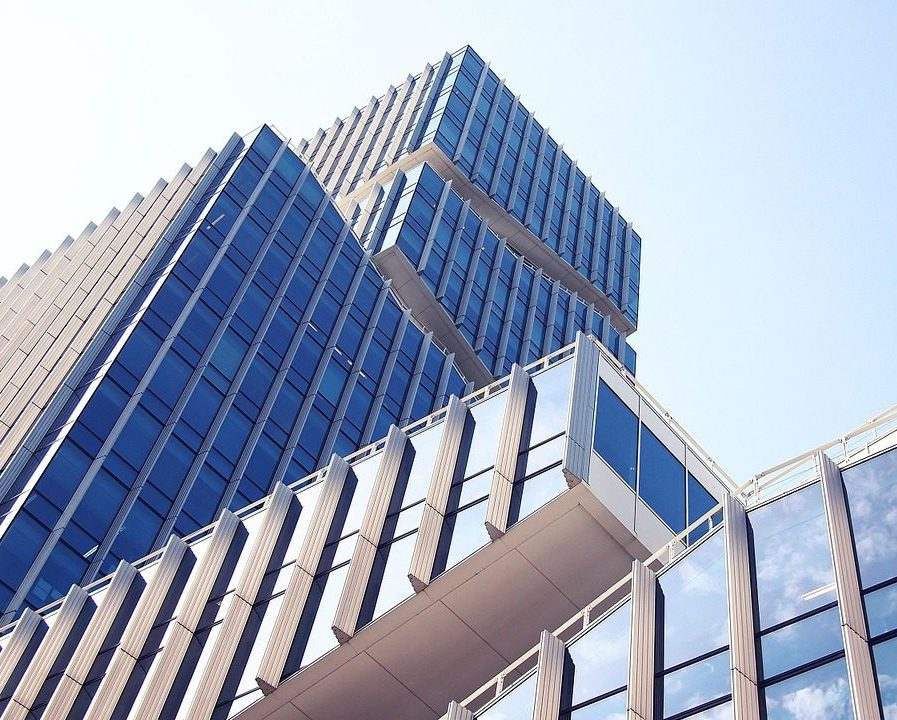 commercial property skyscraper with blue sky