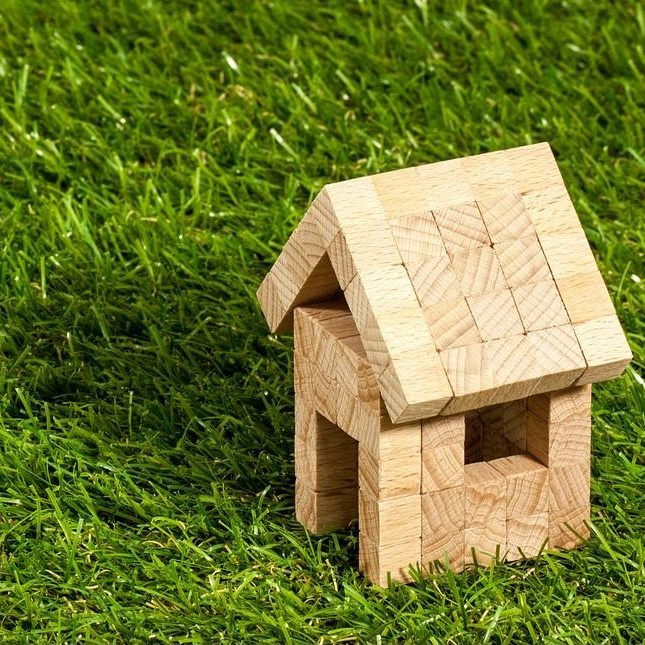 small wooden model house on grass